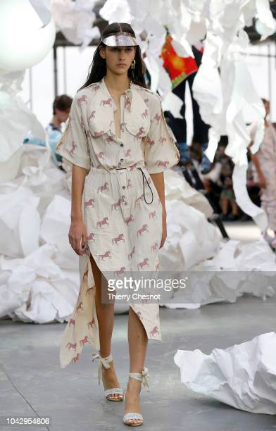 A model walks the runway during the Vivienne Westwood show as part of the Paris Fashion Week Womenswear Spring/Summer 2019 on September 29 2018 in...