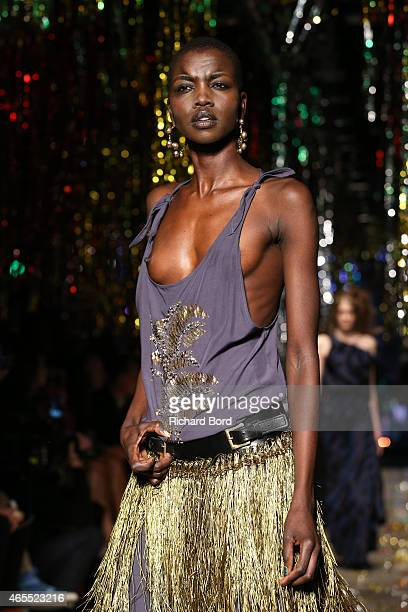 A model walks the runway during the Vivienne Westwood show as part of the Paris Fashion Week Womenswear Fall/Winter 2015/2016 at the Centorial on...