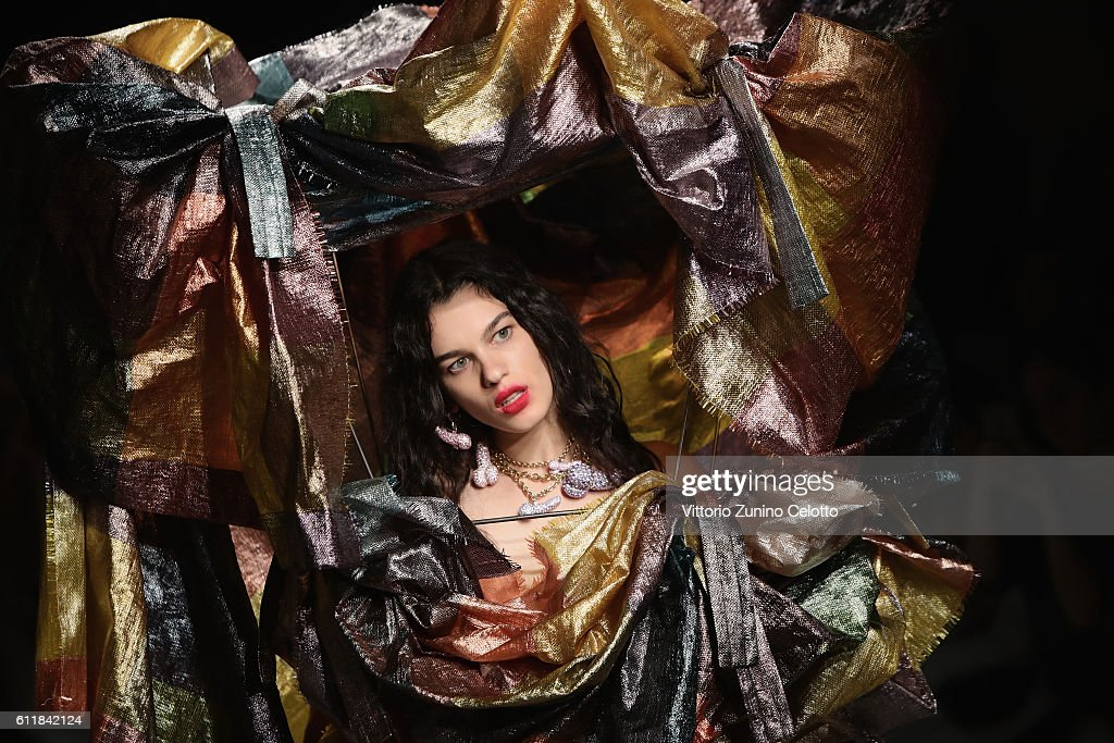 A model walks the runway during the Vivienne Westwood show as part of the Paris Fashion Week Womenswear Spring/Summer 2017 on October 1, 2016 in Paris, France.