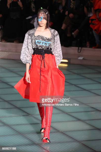 A model walks the runway during the Vivienne Westwood show as part of the Paris Fashion Week Womenswear Spring/Summer 2018 on September 30 2017 in...