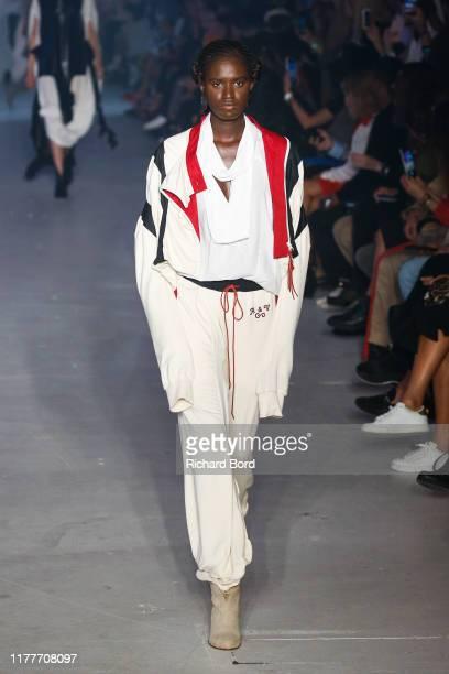Model walks the runway during the Vivienne Westwood Womenswear Spring/Summer 2020 show as part of Paris Fashion Week on September 28, 2019 in Paris,...