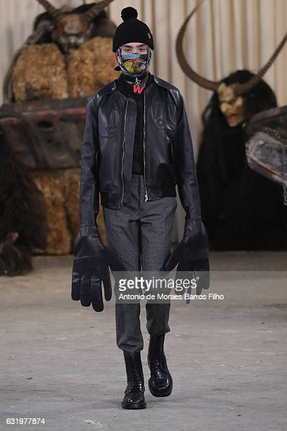A model walks the runway during the Walter Van Beirendonck Menswear Fall/Winter 20172018 show as part of Paris Fashion Week on January 18 2017 in...
