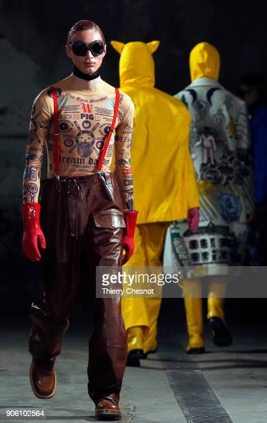 A model walks the runway during the Walter Van Beirendonck Menswear Fall/Winter 20182019 show as part of Paris Fashion Week on January 17 2018 in...