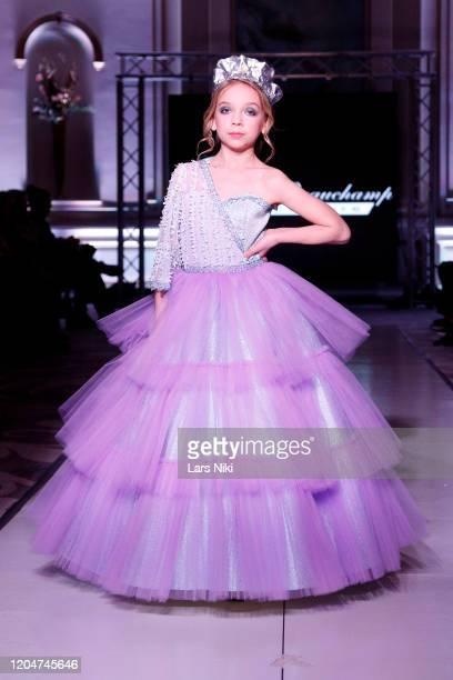 A model walks the runway during the Wanda Beauchamp show at the Cosmopolitan NYFW FW20 fashion show during New York Fashion Week at Lotte New York...