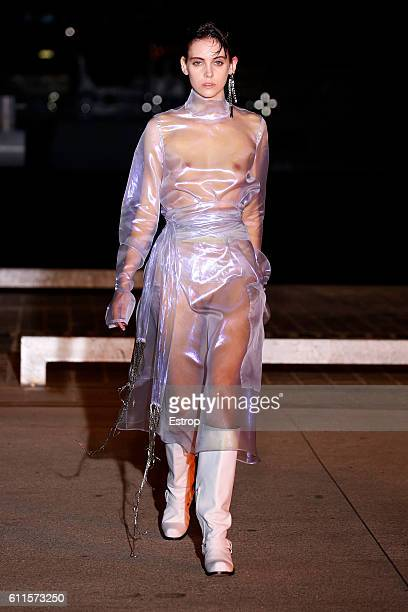 A model walks the runway during the Wanda Nylon designed by Johanna Senyk show as part of the Paris Fashion Week Womenswear Spring/Summer 2017 on...