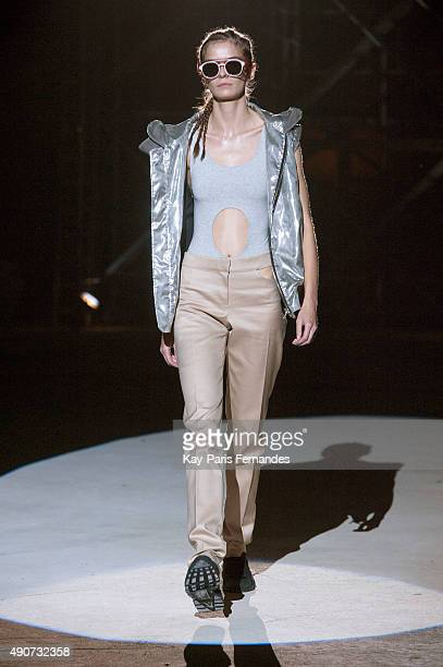 Model walks the runway during the Wanda Nylon show as part of the Paris Fashion Week Womenswear Spring/Summer 2016 on September 30, 2015 in Paris,...