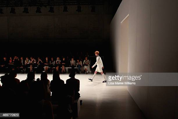 A model walks the runway during the Wang Yutao show at MercedesBenz Fashion Week Australia 2015 at Carriageworks on April 15 2015 in Sydney Australia