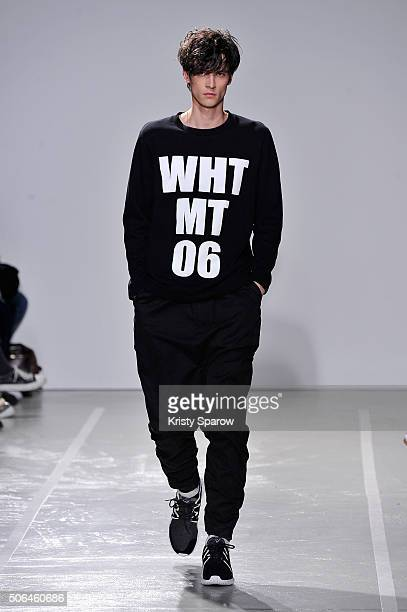 A model walks the runway during the White Mountaineering Menswear Fall/Winter 20162017 show as part of Paris Fashion Week on January 23 2016 in Paris...