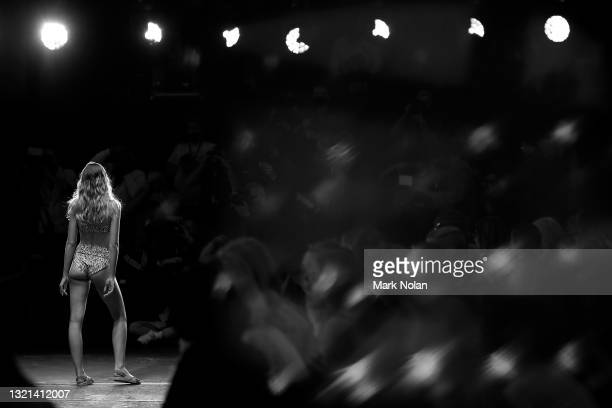 Model walks the runway during the White Sands show during Afterpay Australian Fashion Week 2021 Resort '22 Collections at Carriageworks on June 02,...
