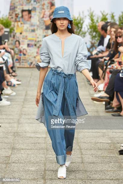 A model walks the runway during the William Fan defile during 'Der Berliner Mode Salon' Spring/Summer 2018 at Kronprinzenpalais on July 6 2017 in...