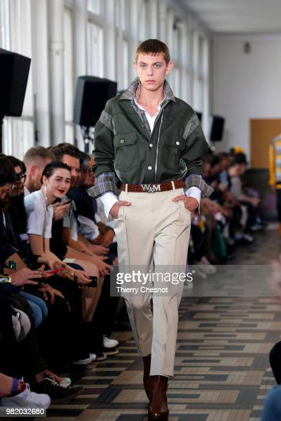 A model walks the runway during the Wooyoungmi Menswear Spring/Summer 2019 show as part of Paris Fashion Week on June 23 2018 in Paris France