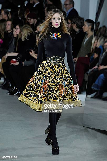 Model walks the runway during the Wunderkind show as part of Paris Fashion Week Womenswear Fall/Winter 2015/2016 at Palais De Tokyo on March 9, 2015...