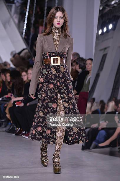 A model walks the runway during the Wunderkind show as part of the Paris Fashion Week Womenswear Fall/Winter 2015/2016 at Palais De Tokyo on March 9...