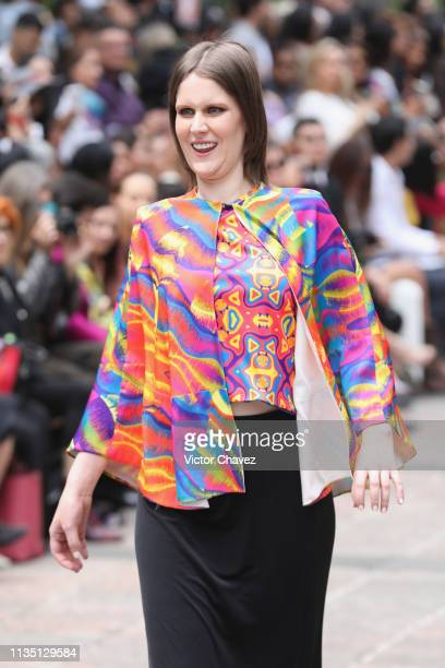 A model walks the runway during the Xico by Adriana Macias fashion show as part of the MercedesBenz Fashion Week Mexico Fall/Winter 2019 Day 5 at...