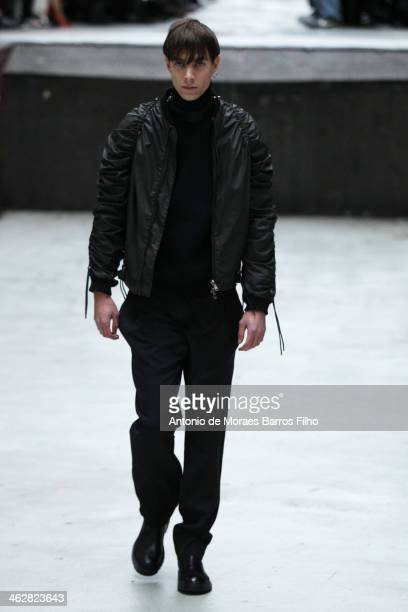 Model walks the runway during the Y Project Menswear Fall/Winter 2014-2015 show as part of Paris Fashion Week on January 15, 2014 in Paris, France.