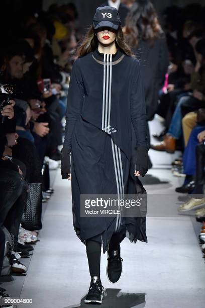Model walks the runway during the Y-3 Menswear Fall/Winter 2018-2019 show as part of Paris Fashion Week on January 21, 2018 in Paris, France.