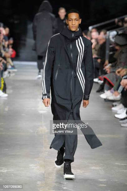 Model walks the runway during the Y-3 Menswear Fall/Winter 2019-2020 show as part of Paris Fashion Week on January 20, 2019 in Paris, France.