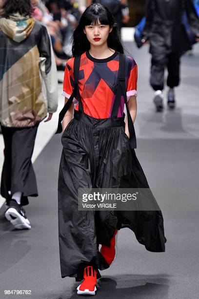 Model walks the runway during the Y-3 Menswear Spring/Summer 2019 fashion show as part of Paris Fashion Week on June 24, 2018 in Paris, France.
