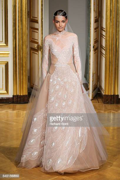 A model walks the runway during the Yanina Couture Haute Couture Fall/Winter 20162017 show as part of Paris Fashion Week on July 5 2016 in Paris...