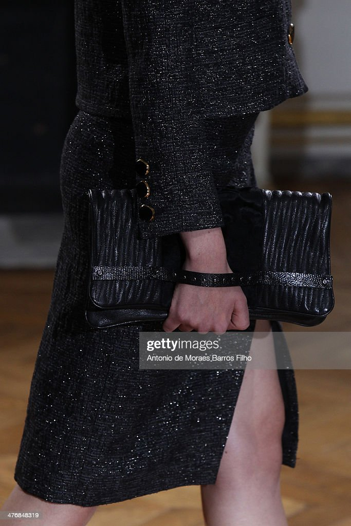 A model walks the runway (detail) during the YDE show as part of the Paris Fashion Week Womenswear Fall/Winter 2014-2015 on March 5, 2014 in Paris, France.