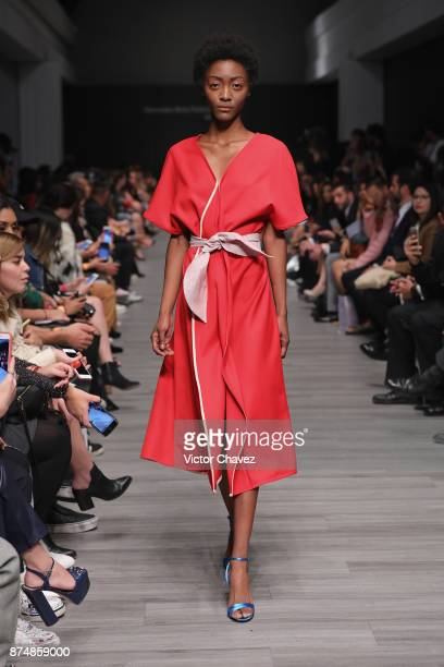 A model walks the runway during the Yeshua Herrera show at Mercedes Benz Fashion Week Mexico Spring/Summer 2018 at Altto San Angel on November 15...