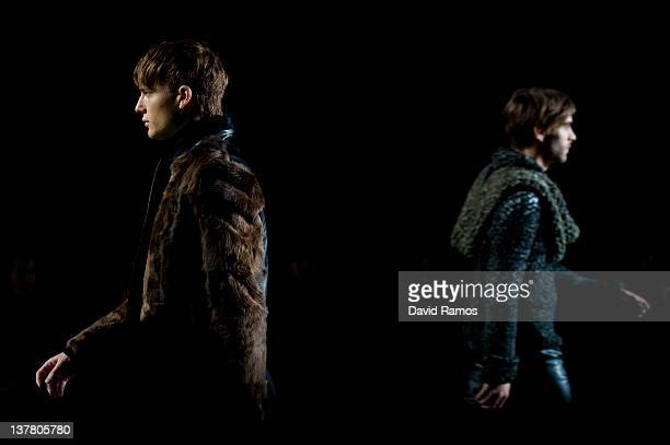 A model walks the runway during the Yiorgos Eleftheriades catwalk show as part of the 080 Barcelona Fashion week on January 27 2012 in Barcelona Spain