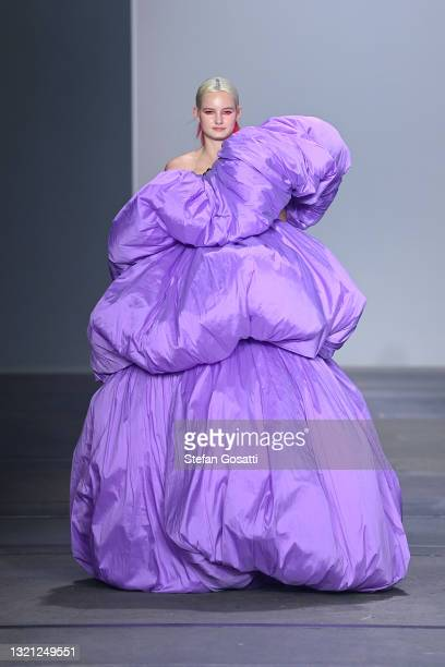 Model walks the runway during the Yousef Akbar show during Afterpay Australian Fashion Week 2021 Resort '22 Collections at Carriageworks on June 02,...