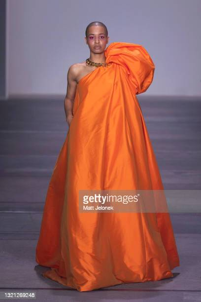 Model walks the runway during the Yousef Akbar show during Afterpay Australian Fashion Week 2021 Resort '22 Collections at Carriageworks on June 2,...