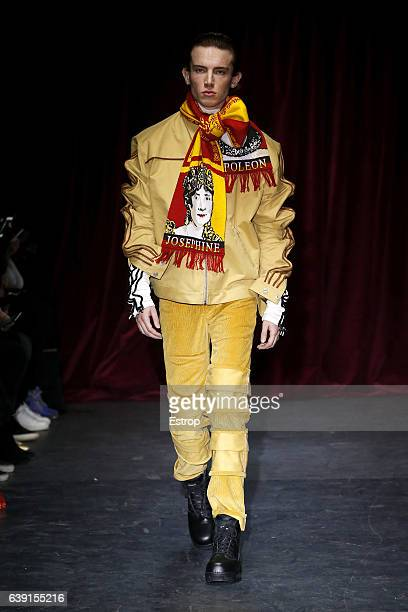 A model walks the runway during the Y/Project designed by Glenn Martens Menswear Fall/Winter 20172018 show as part of Paris Fashion Week on January...