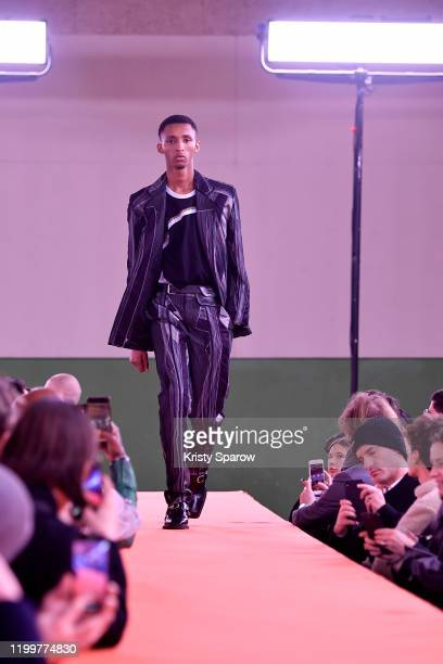 Model walks the runway during the Y/Project Menswear Fall/Winter 2020-2021 show as part of Paris Fashion Week on January 15, 2020 in Paris, France.