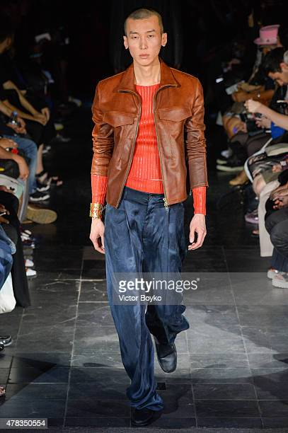Model walks the runway during the Y/Project Menswear Spring/Summer 2016 show as part of Paris Fashion Week on June 24, 2015 in Paris, France.