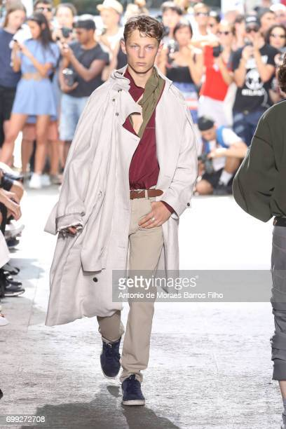 Model walks the runway during the Y/Project Menswear Spring/Summer 2018 show as part of Paris Fashion Week on June 21, 2017 in Paris, France.