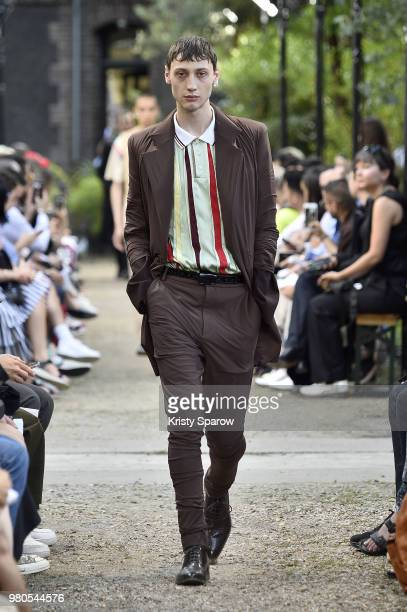 A model walks the runway during the Y/Project Menswear Spring/Summer 2019 show as part of Paris Fashion Week on June 20 2018 in Paris France