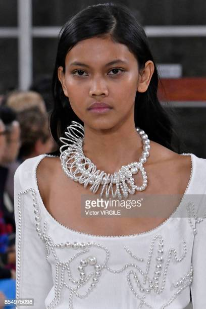 A model walks the runway during the Y/Project Ready to Wear Spring/Summer 2018 fashion show as part of Paris Fashion Week Womenswear Spring/Summer...