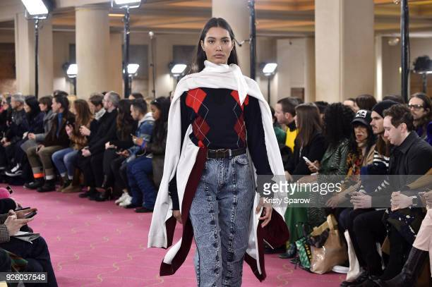 A model walks the runway during the Y/Project show as part of Paris Fashion Week Womenswear Fall/Winter 2018/2019 on March 1 2018 in Paris France