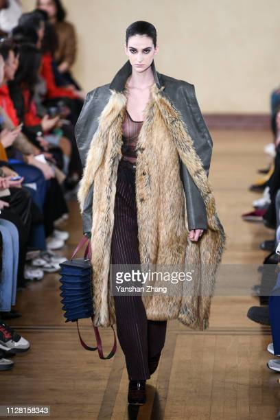 Model walks the runway during the Y/Project show as part of the Paris Fashion Week Womenswear Fall/Winter 2019/2020 on February 28, 2019 in Paris,...