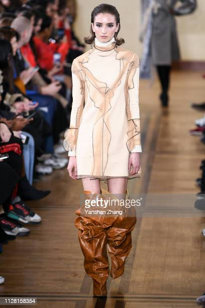 A model walks the runway during the Y/Project show as part of the Paris Fashion Week Womenswear Fall/Winter 2019/2020 on February 28 2019 in Paris...