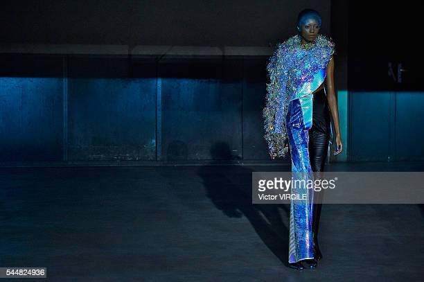 Model walks the runway during the Yuima Nakazato Fall/Winter 2016-2017 show as part of Paris Fashion Week on July 3, 2016 in Paris, France.