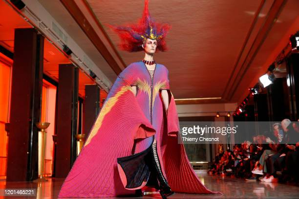 Model walks the runway during the Yuima Nakazato Haute Couture Spring/Summer 2020 show as part of Paris Fashion Week on January 23, 2020 in Paris,...