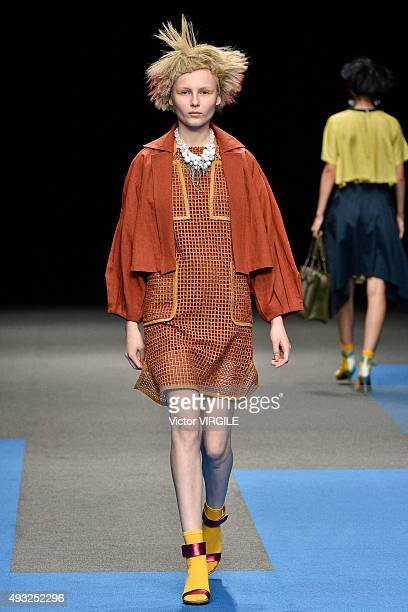 A model walks the runway during the Yuma Koshino Ready to Wear show as part of Mercedes Benz Fashion Week TOKYO 2015 S/S on October 16 2015 in Tokyo...
