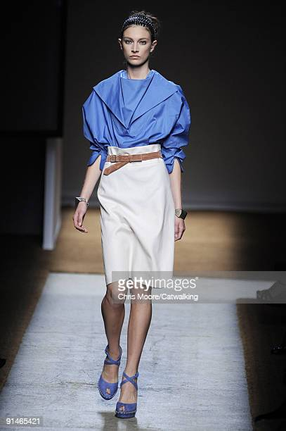 A model walks the runway during the Yves Saint Laurent Ready To Wear show as part of the Paris Womenswear Fashion Week Spring/Summer 2010 at Palais...