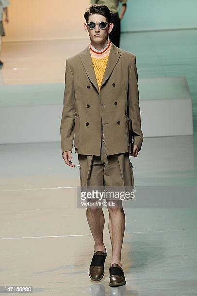 Model walks the runway during the Z Zegna show as part of Milan Fashion Week Menswear Spring/Summer 2013 on June 25, 2012 in Milan, Italy.
