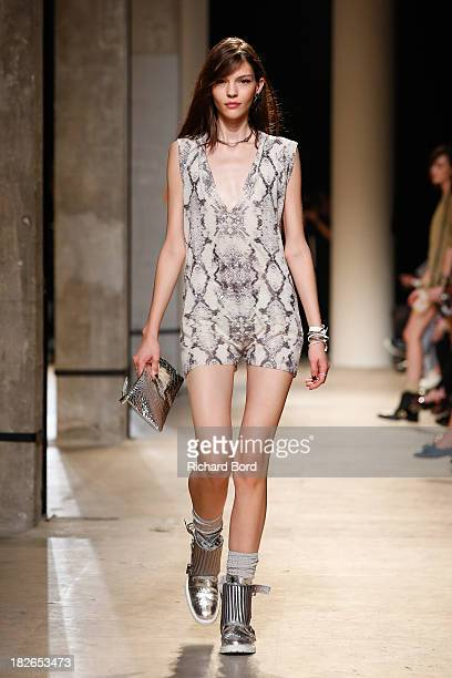 A model walks the runway during the Zadig Voltaire show at 'Palais de Tokyo' as part of the Paris Fashion Week Womenswear Spring/Summer 2014 on...
