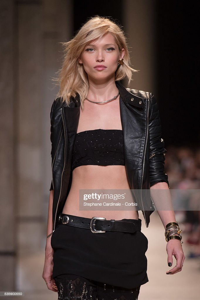 A model walks the runway during the Zadig & Voltaire show at 'Palais de Tokyo', as part of the Paris Fashion Week Womenswear Spring/Summer 2014, in Paris.