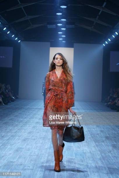 Model walks the runway during the Zambesi: 40 Years of Fashion show during New Zealand Fashion Weekend 2019 on August 30, 2019 in Auckland, New...
