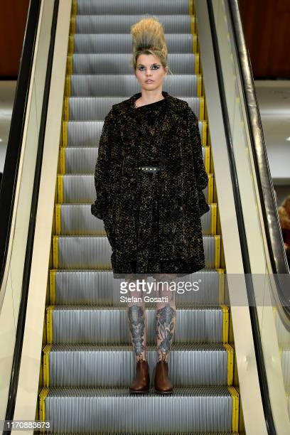 A model walks the runway during the Zambesi show during New Zealand Fashion Week 2019 at Auckland City Library on August 29 2019 in Auckland New...