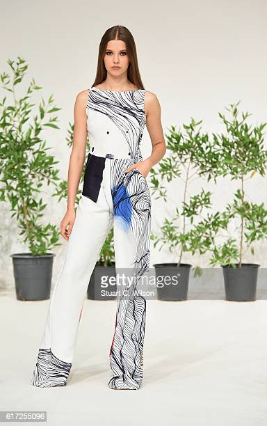 A model walks the runway during the Zena Presley Presentation at Fashion Forward Spring/Summer 2017 held at the Dubai Design District on October 22...