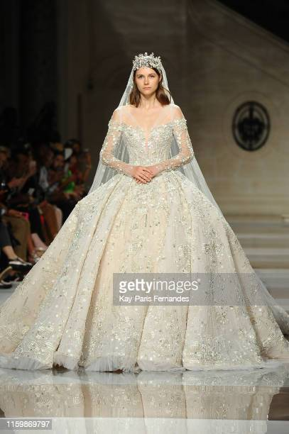 Model walks the runway during the Ziad Nakad Fall/Winter 2019 2020 show as part of Paris Fashion Week on July 03, 2019 in Paris, France.