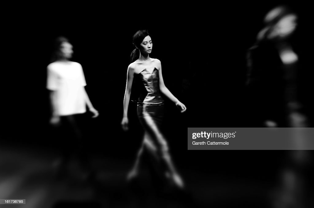 A model walks the runway during the Zoe Jordan show during London Fashion Week Fall/Winter 2013/14 at Somerset House on February 15, 2013 in London, England.