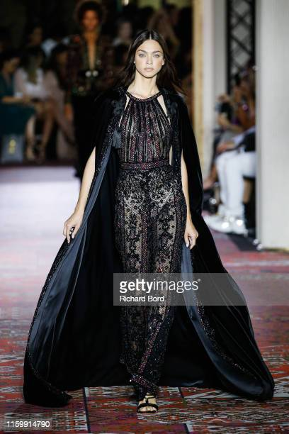 Model walks the runway during the Zuhair Murad Fall/Winter 2019 2020 show as part of Paris Fashion Week on July 03, 2019 in Paris, France.